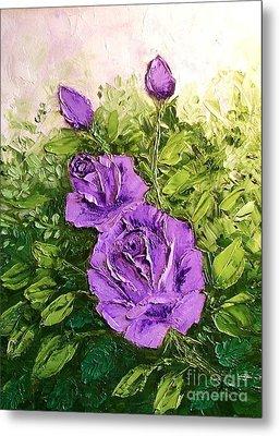 Roses In Lavender Metal Print by Peggy Miller