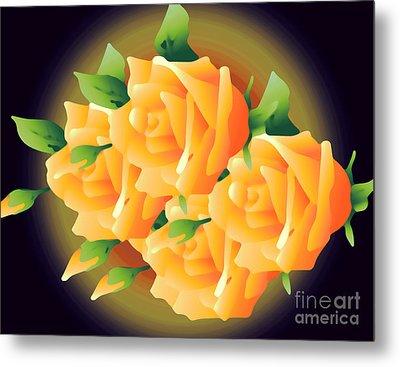 Roses In Sunset Metal Print by Gayle Price Thomas