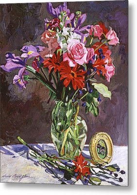 Roses Irises And Gerbras Metal Print by David Lloyd Glover
