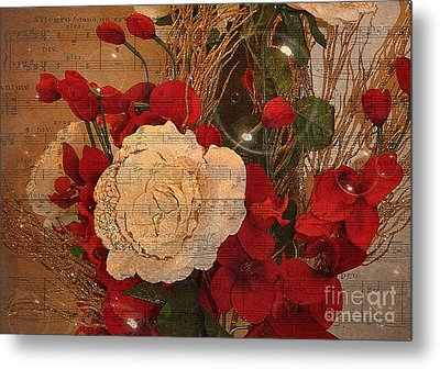 Roses Music Bubbles And Love Metal Print by Kathy Baccari