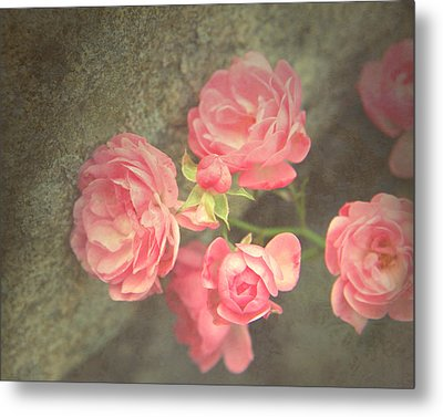 Metal Print featuring the photograph Roses On Granite by Brooke T Ryan