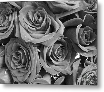 Metal Print featuring the photograph Roses On Your Wall Black And White  by Joseph Baril