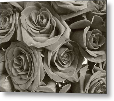 Metal Print featuring the photograph Roses On Your Wall Sepia by Joseph Baril