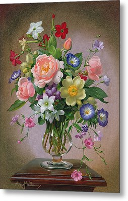 Roses Peonies And Freesias In A Glass Vase Metal Print by Albert Williams