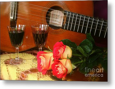 Metal Print featuring the photograph Guitar 'n Roses by The Art of Alice Terrill