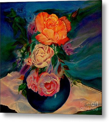 Metal Print featuring the painting Roses Roses Roses by Jenny Lee