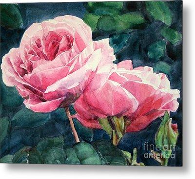 Watercolor Of Two Luscious Pink Roses Metal Print