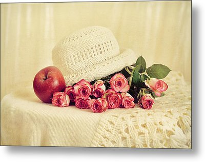 Roses With Apple Metal Print by Gynt Art