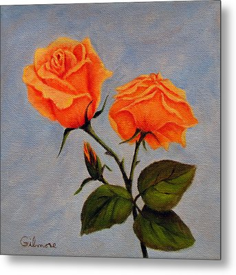 Metal Print featuring the painting Roses With Bud by Roseann Gilmore