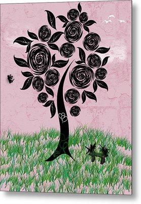 Rosey Posey Metal Print by Rhonda Barrett