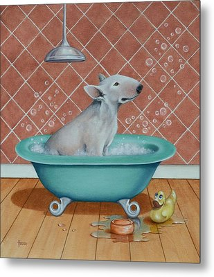 Metal Print featuring the painting Rosie In The Bliss Bubbles by Cynthia House
