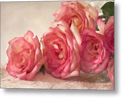 Metal Print featuring the photograph Rosy Elegance Digital Watercolor by Sandra Foster