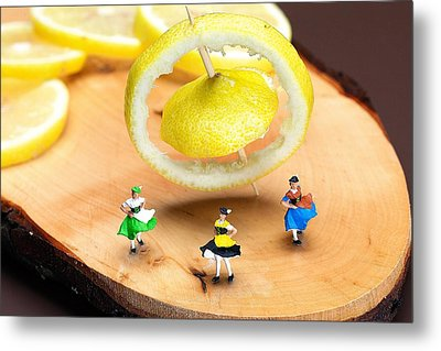 Metal Print featuring the photograph Rotating Dancers And Lemon Gyroscope Food Physics by Paul Ge
