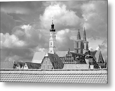 Rothenburg Towers In Black And White Metal Print by Corinne Rhode