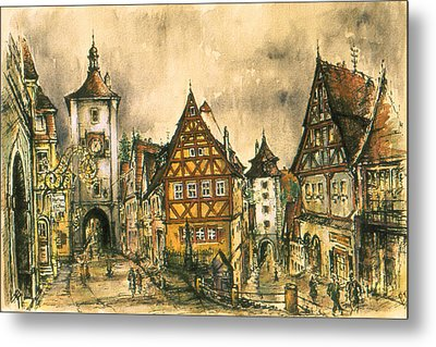 Rothenburg Bavaria Germany - Romantic Watercolor Metal Print by Art America Gallery Peter Potter