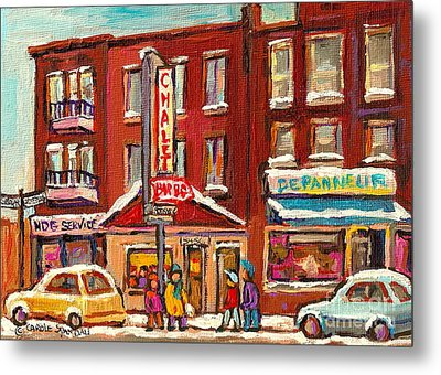 Rotisserie Le Chalet Bar B Q Sherbrooke West Montreal Winter City Scene Metal Print