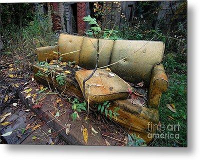 Rotting Yellow Sofa Metal Print by Amy Cicconi