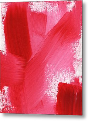 Rouge- Vertical Abstract Painting Metal Print
