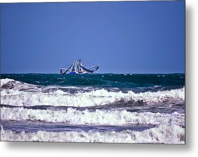 Metal Print featuring the photograph Rough Seas Shrimping by DigiArt Diaries by Vicky B Fuller
