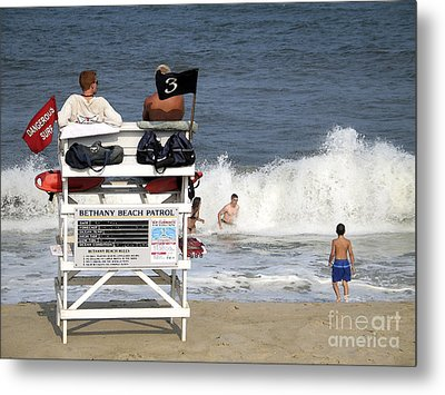 Rough Water At Bethany Beach In Delaware  Metal Print by William Kuta