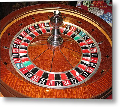 Roulette Wheel And Chips Metal Print