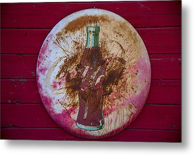Round Coke Sign Metal Print by Garry Gay
