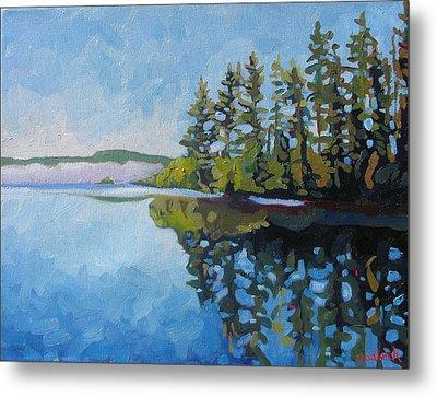 Round Lake Mirror Metal Print