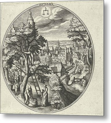 Round Table With An Autumn Landscape And Autumn Scenes Metal Print by Adriaen Collaert
