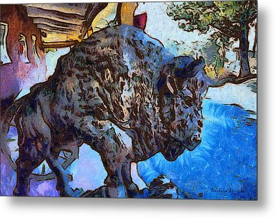 Round Up Market Buffalo Metal Print by Barbara Snyder