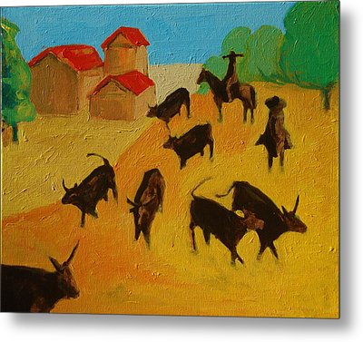 Round Up Of The Bulls 3 Painting By Bertram Poole Metal Print by Thomas Bertram POOLE