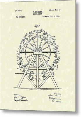 Roundabout 1893 Patent Art  Metal Print by Prior Art Design