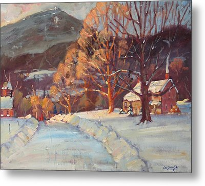 Metal Print featuring the painting Route 116 Savoy by Len Stomski