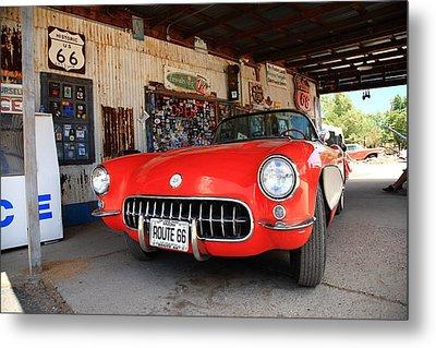 Route 66 Corvette Metal Print by Frank Romeo