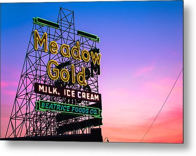 Route 66 Meadow Gold Neon Sign - Tulsa Oklahoma Metal Print by Gregory Ballos