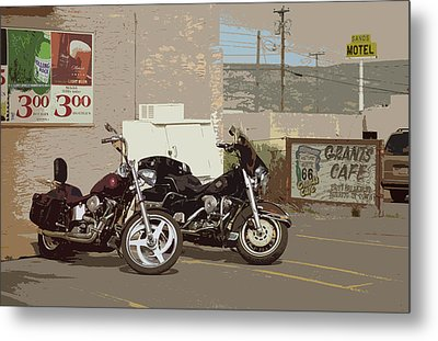 Route 66 Motorcycles With A Dry Brush Effect Metal Print by Frank Romeo