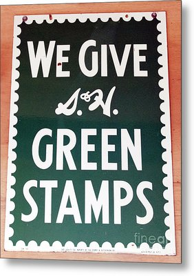 Route 66 Odell Il Gas Station Green Stamps Signage Metal Print by Thomas Woolworth