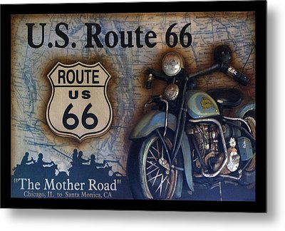 Route 66 Odell Il Gas Station Motorcycle Signage Metal Print