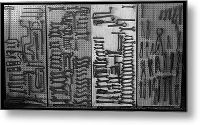 Route 66 Odell Il Gas Station Tools Black And White Metal Print