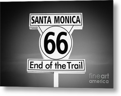 Route 66 Sign In Santa Monica In Black And White Metal Print by Paul Velgos