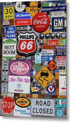 Route 66 Signage Display Metal Print by Mark Williamson