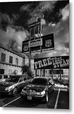 Route 66 - The Big Texan 001 Bw Metal Print
