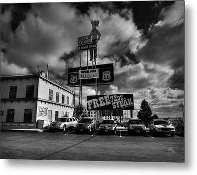 Route 66 - The Big Texan 002 Bw Metal Print