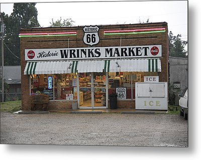 Route 66 - Wrink's Market Metal Print by Frank Romeo