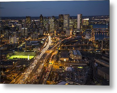 Route 93 Into Boston At Night. Metal Print by Dave Cleaveland
