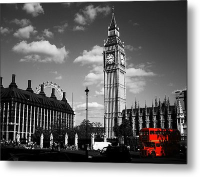 Routemaster Bus On Black And White Background Metal Print