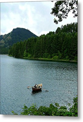 Metal Print featuring the photograph Row Boat At Dorena Lake  by Mindy Bench