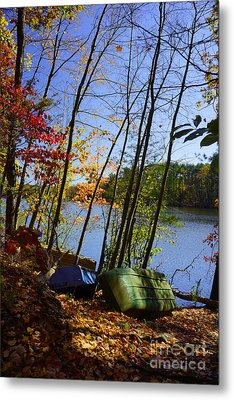 Metal Print featuring the photograph Row Boats Along Croton Reservoir - Ny by Rafael Quirindongo