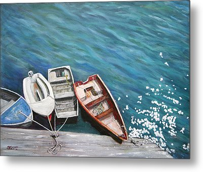 Metal Print featuring the painting Row Boats At Dock by Sandra Nardone
