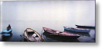 Row Boats In A River, Ganges River Metal Print by Panoramic Images