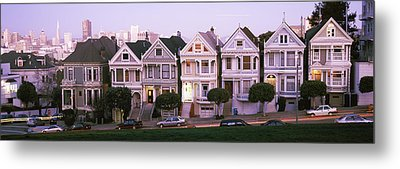 Row Houses In A City, Postcard Row, The Metal Print by Panoramic Images